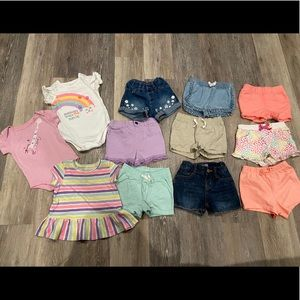 Bundle of 12 months Baby Girl Shorts and Tops
